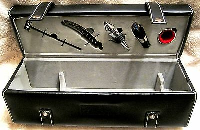 Like-New - Beautiful - Black Leather-Liquor Carry Case With Accessories - Rare!!