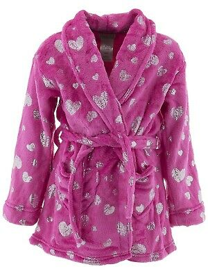 Komar Kids Girls Robe Solid Red Velvet Fleece Long Sleeved Bathrobe