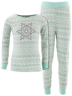 Cozy Couture Girls Snowflake Mint Nordic Print Cotton Pajamas