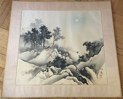 Vintage Japanese Original Landscape Watercolor & Ink  Painting On Silk, Signed