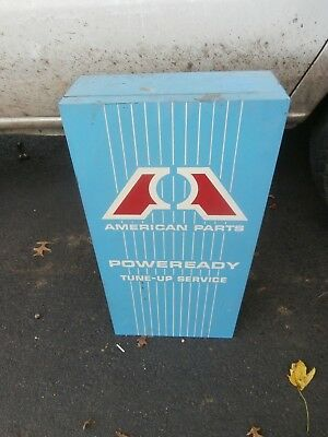 Vintage American Auto Parts Poweready Tune Up Service Metal Cabinet