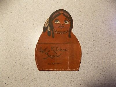 VTG RED WING MINN. MN Leather souvenir hand painted Indian in feather headdress