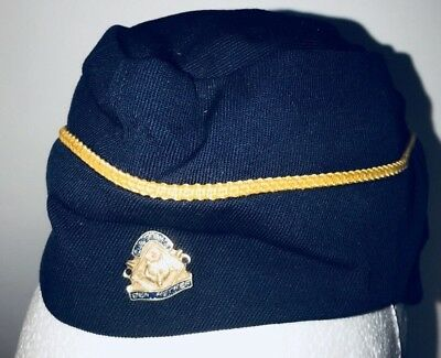 1960s BSA Den Mother Pin and Hat Cap Size 21 Boy Scouts Womens Cub Scout Blue