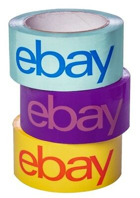 "Three (3) Rolls EBAY Shipping Packing Tape ~ Yellow Blue Purple 2"" x 75 yards ea"