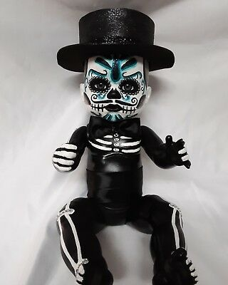 Day of the Dead Boy Baby Doll Sugar Skull Mexican Folk Art Dia De los Muertos