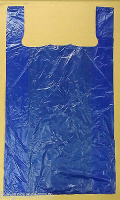 "50 18x7x32 Jumbo 32"" Large Blue Retail High Density Plastic T-Shirt Bags"
