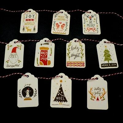 10 Designs Christmas Tags with 10 Meters Twine for Gift Decoration, Pack of 50