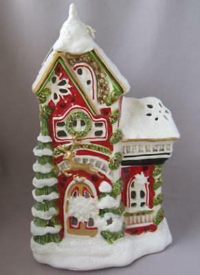 Blue Sky Clayworks Christmas TALL HOUSE WITH SNOW T-Lite Tealight Candle Holder