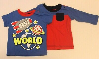 Lot Of 2 NWOT HealthTex Boys 0-3 Months Shirts Blue Red Best Son In The World