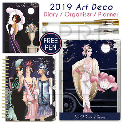 2019 Art Deco Organiser Diary Planner + FREE PEN Robert Frederick Claire Coxon