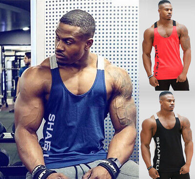 c5c6bc8a68074 Gym Men s Muscle Sleeveless Tank Top T-Shirt Bodybuilding Sport Fitness Vest  US