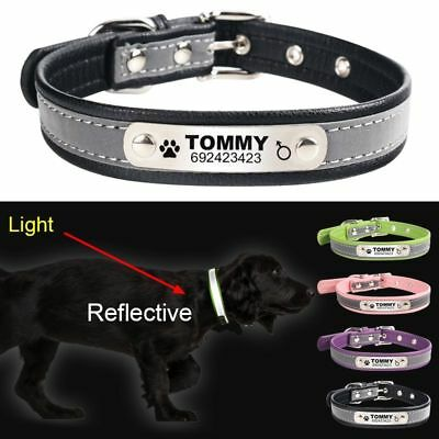 Personalized Engraved Reflective Leather Pets ID Tags Dogs Cat Collar Custom New