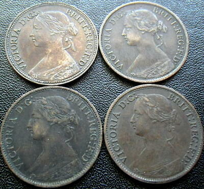 Great Britain Victoria 1860-1901 Farthings (aFine-gVF)
