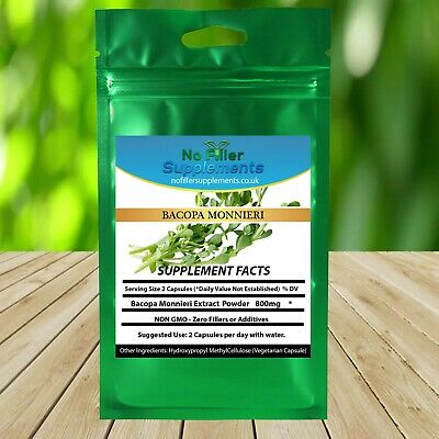 Organic Bacopa Monnieri Extract Vegetable Capsules Memory Focus No Fillers