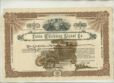 1911 Tobin Whichway Signal Company New York Stock Certificate