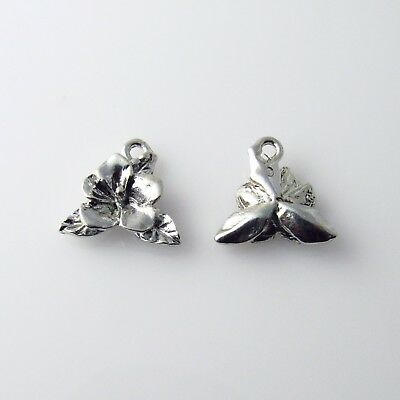 Hibiscus Flower - 5 Silver Tone Lead Free Pewter Charms