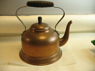 Brass and Copper Kettle teapot with wooden handle rustic look made in Portugal