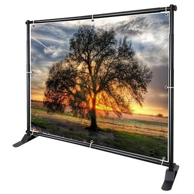 10' Telescopic Banner Stand Step Repeat Adjustable Backdrop Wall Exhibitor