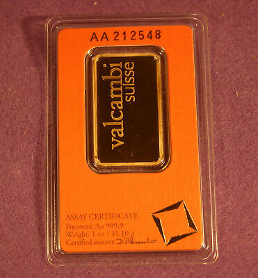 1 troy oz Valcambi Suisse .9999 Fine Gold Bar Sealed In Assay