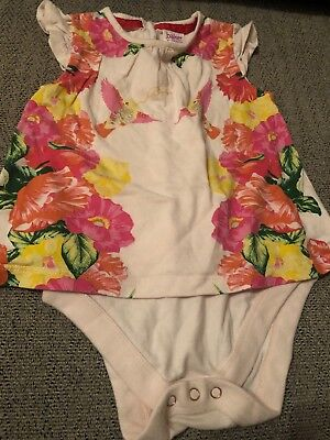 9357fe585c9 Ted Baker Girls Floral Bird Top With Built In Body Suit Age 12-18 Months