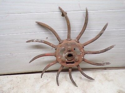 Old IH Rotary Hoe Spiked Wheel for Garden Flower Yard Decor Lot D