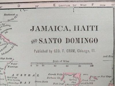 "Vintage 1902 JAMAICA HAITI Map 14""x11"" Old Antique Historical KINGSTON CUBA MAPZ"