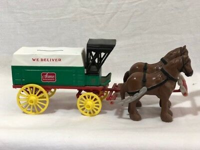 One of a kind Vintage ERTL ACME SUPER MARKETS Horse Drawn Wagon Bank Tazewell VA