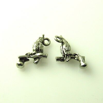 Parrot - 5 Silver Tone Lead Free Pewter Charms