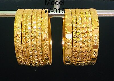 Kids Gold Plated Indian Bangles Set Of 6 Size 1-12 Bollywood Traditional Uk Sell