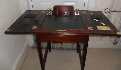 Antique French Mahogany Writing Desk / Table with Cantilever Ink  / Pen Stand