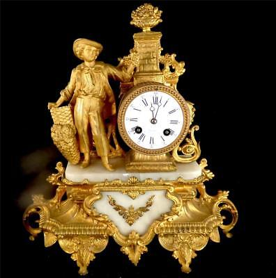 N799 ANTIQUE 19TH CENTURY FRENCH 8 DAY GILT SPELTER & ALABASTER CLOCK a