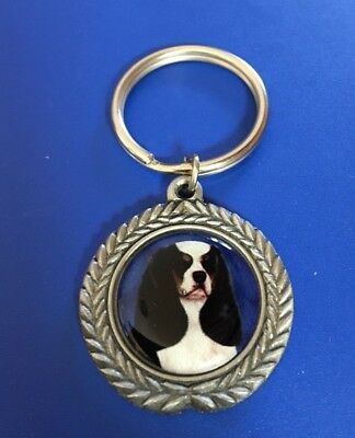 Pewter Cavalier King Charles Spaniel Black/White Key Ring/Keychain