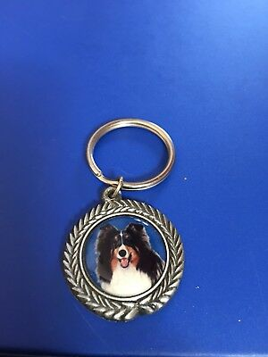 Pewter Sheltie (Tri-Color) Key Ring/Keychain