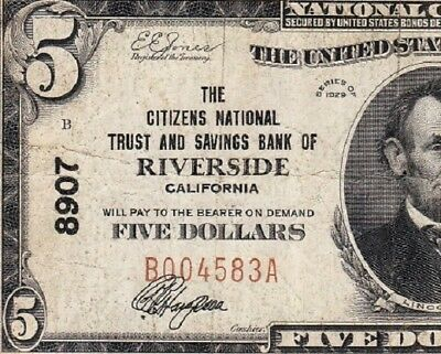 Nice *SCARCE* 1929 $5 RIVERSIDE, CA National Banknote! FREE SHIPPING! B004583A