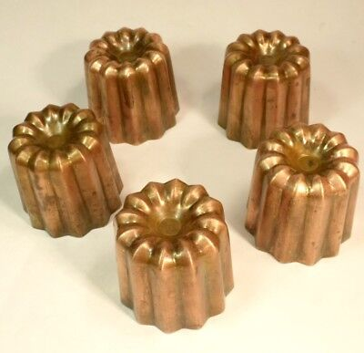 Antique Set 5 Heavy Tinned Copper Jelly Souffle Cannele Cake Moulds Molds