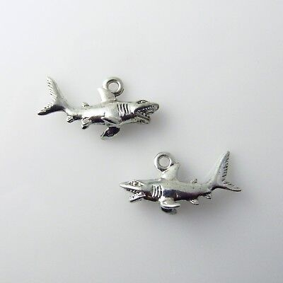 Shark - 5 Silver Tone Lead Free Pewter Charms