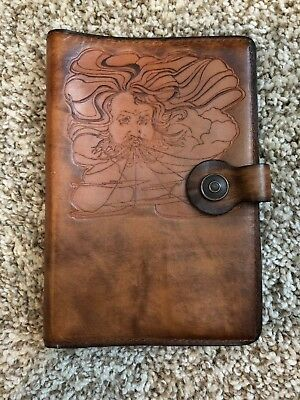Beautiful Leather Beau Hides Book cover Embossed With Wind Blower Man Snap Close