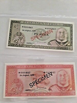 Two 1978 Tonga Specimen Bank Notes,uncirculated