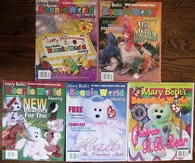 Lot of 5 Mary Beths Beanie World 1998/9 VOL 2 Magazine TY Beanie Baby reference