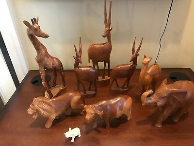 Vtg African Animal Giraffe Elephant Statue Figurine Hand-Carved Wood LOT SET
