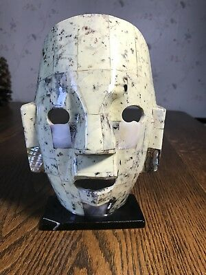Mayan Mask Mexico Folk Art Aztec Semi Precious Stone Abalone Mother of Pearl