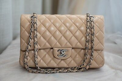 17cdb20ed9e5 VERIFIED Authentic Chanel Beige Quilted Leather Classic Medium Double Flap  Bag
