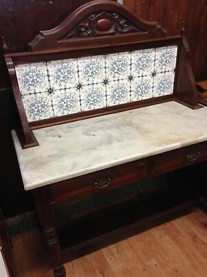 Victorian Mahogany Marble Topped Washstand With Tiled Back