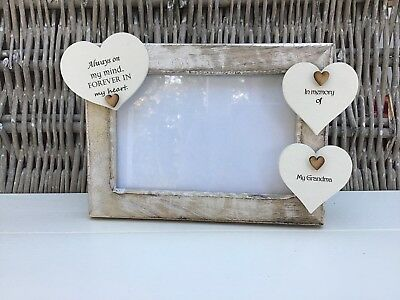 Shabby personalised Chic Photo Frame In Memory Of Loved One Grandad Nana Grandad