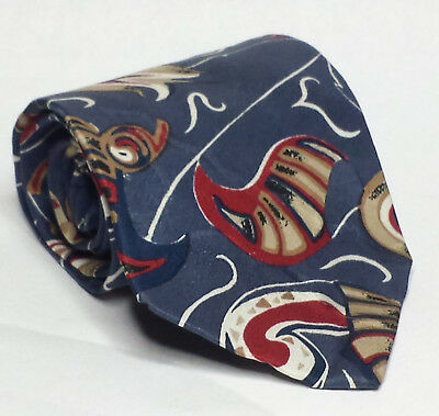 "FC Men's Dress Silk Tie Made In USA Blue with Paisley Pattern 3-3/4"" wide 57"" L"