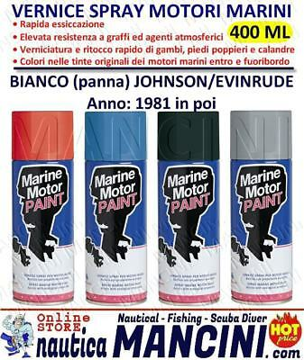 VERNICE SPRAY MOTOR PAINT PER MOTORI MARINI JOHNSON EVINRUDE BIANCO (dal 1981)