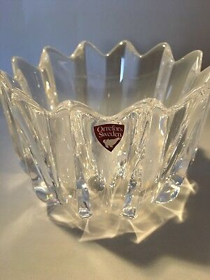 Orrefors Sweden Signed Crystal Fluer Jan Johansson Small Candy Dish