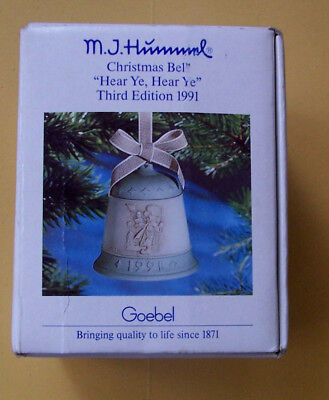 M.J. Hummel Christmas Bell Ornament 1991 Third Edition Goebel W. Germany