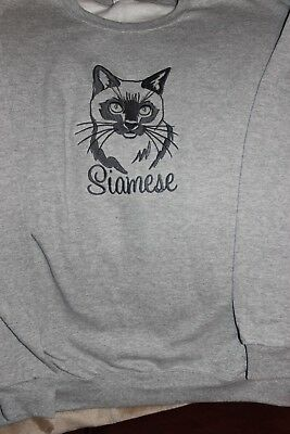 Siamese Cat Silhouette Personalized Sweatshirt  Embroidered ALL SIZES