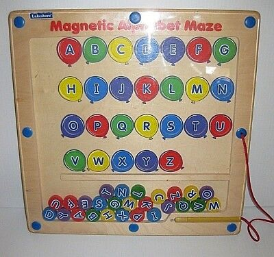 Lakeshore Learning Magnetic Alphabet Maze Puzzle Balloons Wooden
